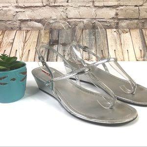Prada Silver Metallic T-Strap Wedge Sandals